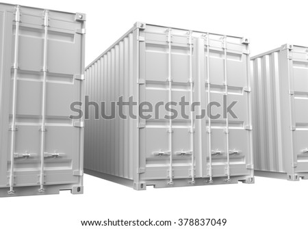3D renderings of white ISO shipping containers on a white background. - stock photo