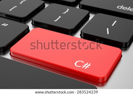 3d renderion of computer programming coding keyboard concept. Red Enter button with machine code language C#
