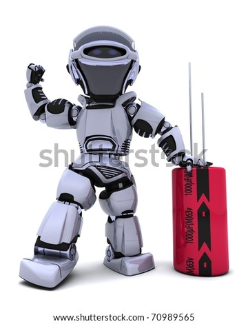 3D Renderof a Robot with a Capacitor - stock photo