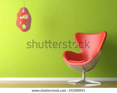 3D renders of a modern red leather couch and lamp on green wall - stock photo