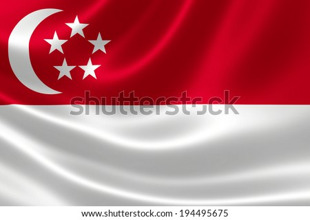 3D rendition of Singapore's flag on silky fabric - stock photo