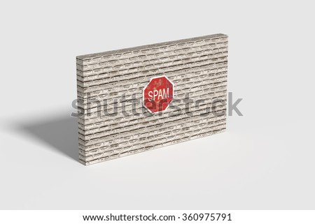 3d rendring of a red Spam traffic sign on brick three-dimensional wall.Illustration - stock photo