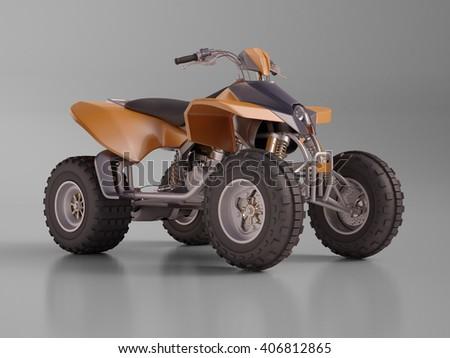 3d renfering: ATV quad bike, studio shooting, soft lighting - stock photo