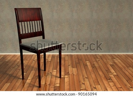 3d renovated retro chair on wooden floor - stock photo