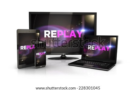 3d replay screen on computer devices, isolated white background, 3d image - stock photo