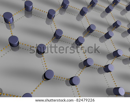 3D-representation of nodes and links, representing concepts such global communication, interconnection, networking, as well as inter-dependencies - stock photo