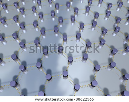 3D-representation of nodes and links, representing concepts such global communication, interconnection, networking, as well as interdependencies - stock photo