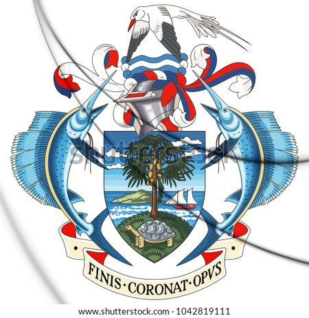 3D Republic of Seychelles coat of arms. 3D Illustration.