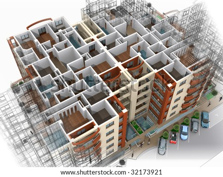 3D residential block of apartments - stock photo