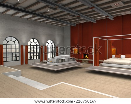 3D residential loft rendering with movable living room and bedroom - stock photo