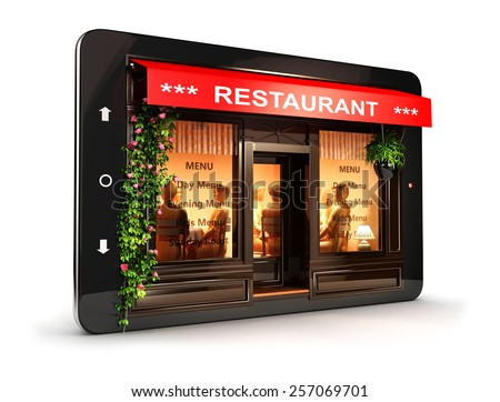 3d restaurant inside tablet, isolated white background, 3d image - stock photo