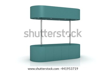 3D Retail Trade Stand Isolated on the white background. kiosk - stock photo