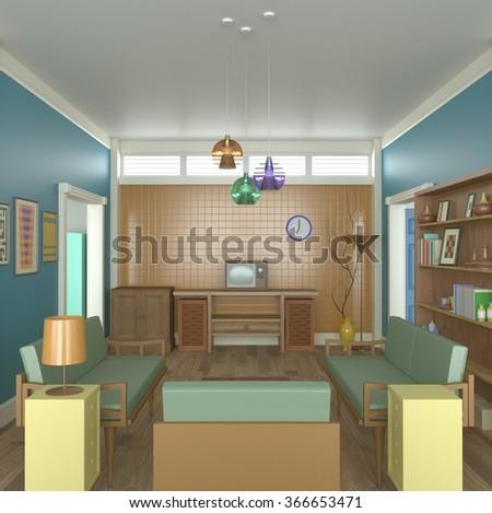 3D Retro Living Room Interior Design