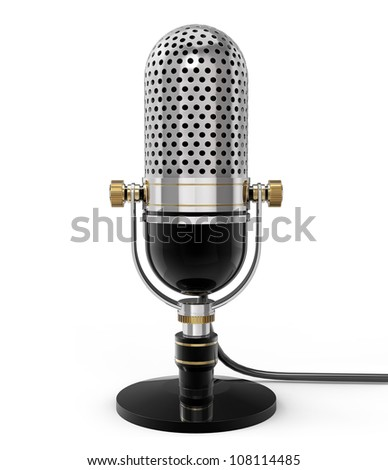 3d Retro microphone (front view). isolated on white with clipping path - stock photo