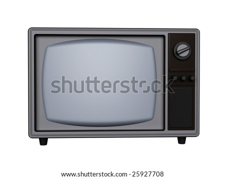 3d retro tv isolated on white background