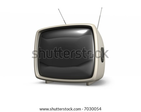 3D retro TV set isolated on white