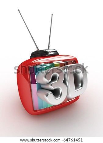 3D Retro Tv with 3d text  isolated - stock photo