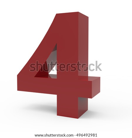 3d right leaning cramoisi number 4, 3D rendering graphic isolated white background