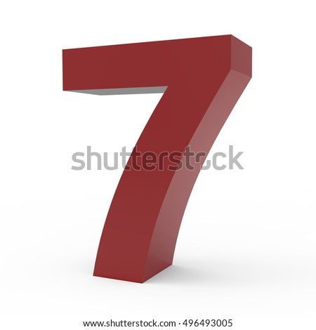 3d right leaning cramoisi number 7, 3D rendering graphic isolated white background
