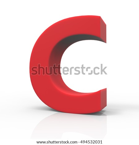 3d right leaning red letter C, 3D rendering graphic isolated white background