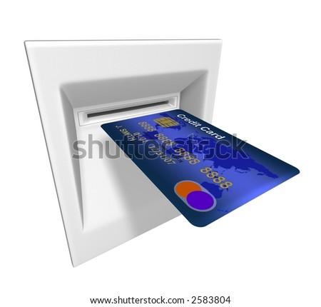 3D rindió la ilustración de la tarjeta de créditoabstracta en máquina de la atmósfera - stock photo