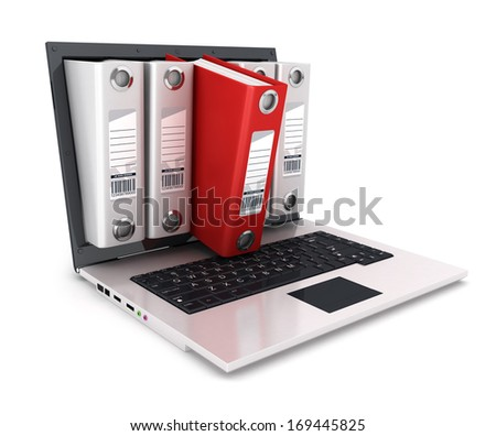 3d ring binder inside laptop, isolated white background, 3d image - stock photo