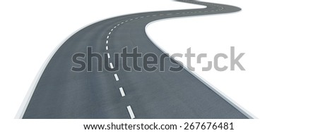3D. Road, Curve, Winding Road.