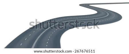 3D. Road, Curve, Winding Road. - stock photo
