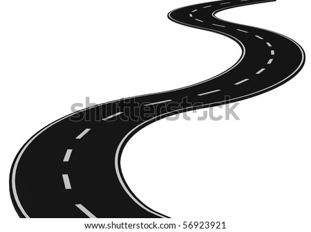3d road isolated on white - stock photo