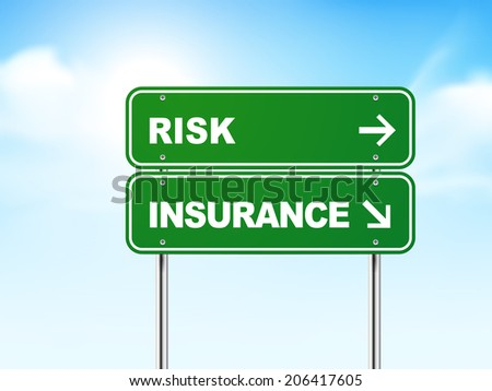 3d road sign with risk and insurance isolated on blue background