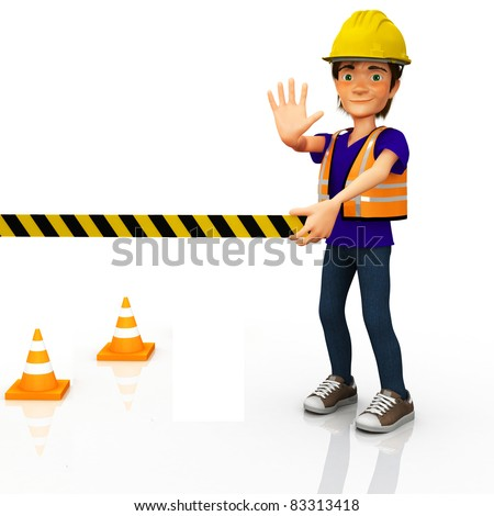 3D road worker sealing an area with tape - isolated over a white background