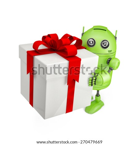 3d Robot carrying huge gift box. Isolated on white - stock photo