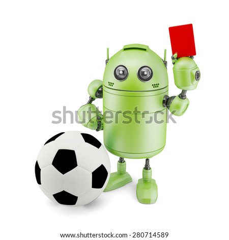 3D Robot playing soccer. Isolated on white - stock photo