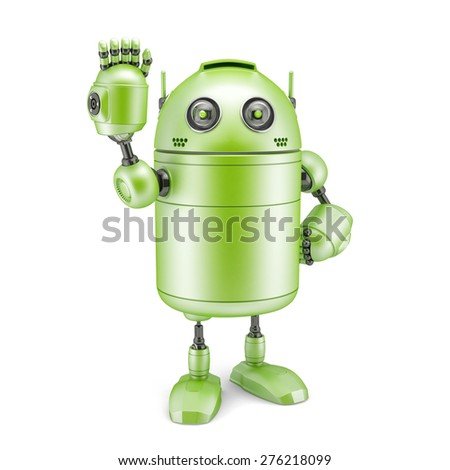 3d Robot sign hello. Technology concept. Isolated on white - stock photo