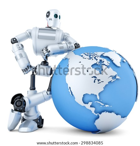3D robot standing with globe. Technology concept. Isolated over white. Contains clipping path - stock photo