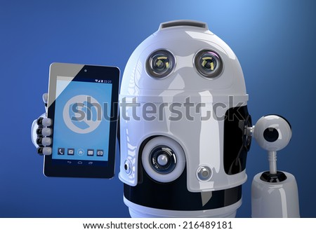 3d Robot using his tablet computer. Technology concept. Contains clipping path - stock photo