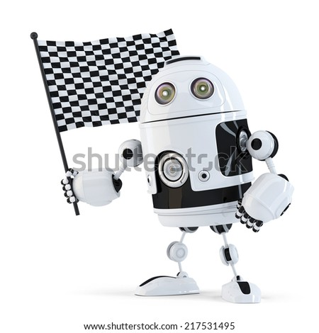 3d Robot waving chequered flag.Isolated. Contains clipping path - stock photo