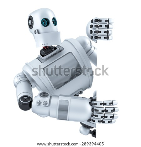 3d Robot with blank banner. Isolated over white. Contains clipping path - stock photo
