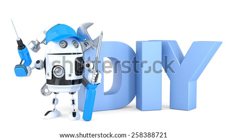 3d robot with DIY sign. Technology concept. Isolated. Contains clipping path - stock photo