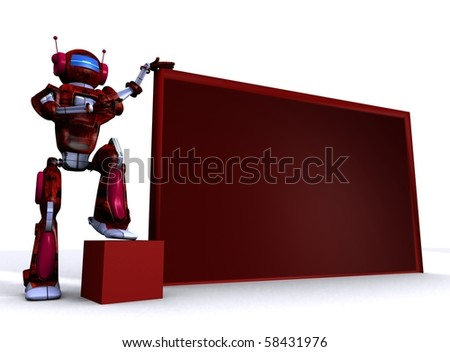 3D robot with empty billboard - stock photo