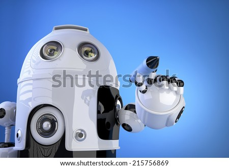 3d Robot writing with marker pen in the air. Technology concept. Contains clipping path - stock photo