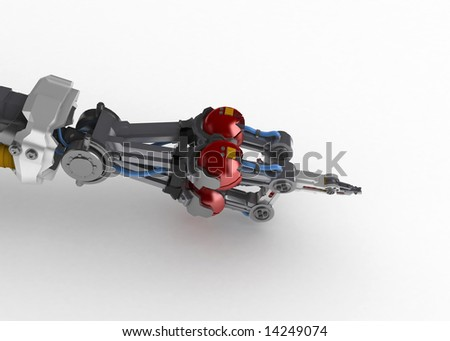 3d robotic hand, over white, isolated