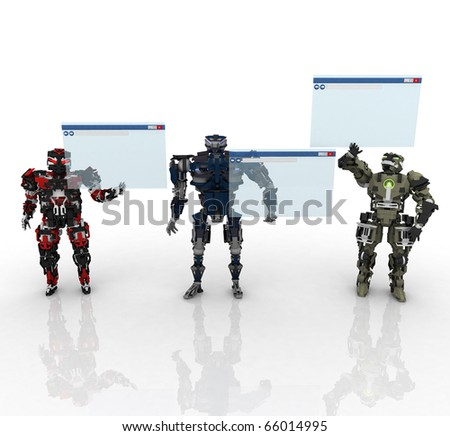 3d robots with internet screen - stock photo