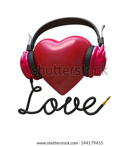 3d rock music concept isolated on white; headphones, heart and cord typographic design - stock photo
