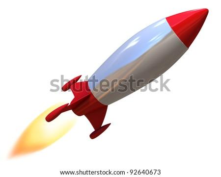 3d rocket isolated - stock photo