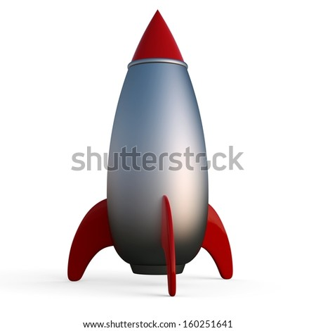 3d Rocket Space ship isolated on white - stock photo