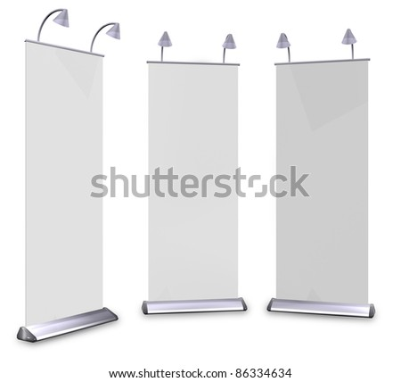 3D roll up banner display And lamp. With Save path for Change the background - stock photo