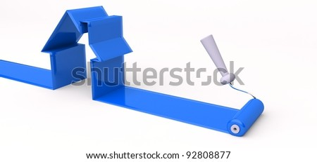 3d roller and blue paint, symbol of building a house - stock photo