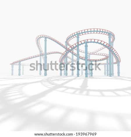 3d roller coaster in the background white. - stock photo