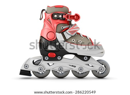 3d Roller skate side view isolated on white background. - stock photo